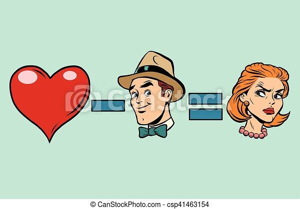 Broken heart minus man equals angry woman - csp41463154