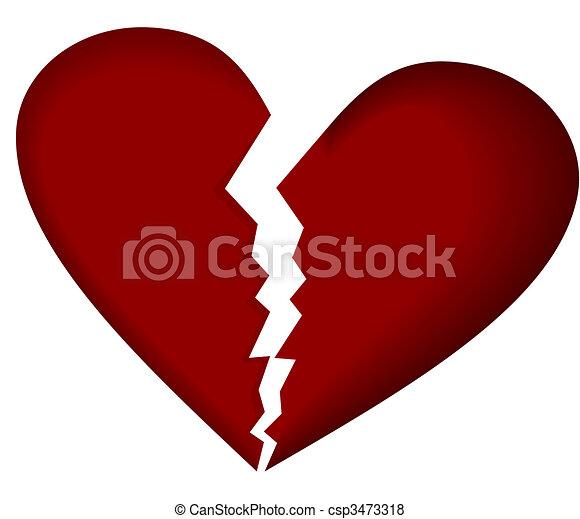 Broken heart on white - csp3473318