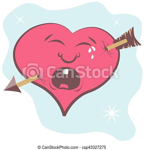 funny vector illustration of cartoon broken heart with arrow rh canstockphoto com cartoon broken heart wallpaper cartoon broken heart video