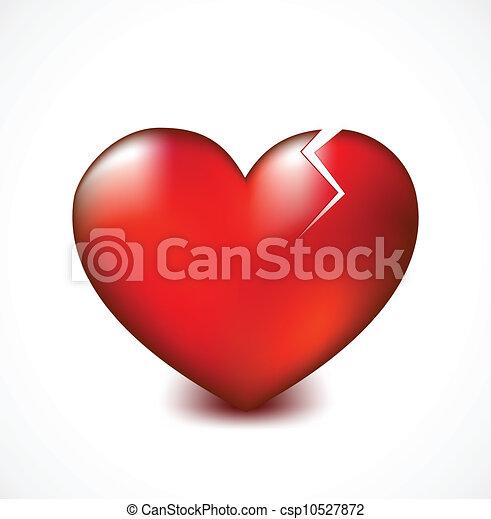 Broken heart with crack. Vector background - csp10527872