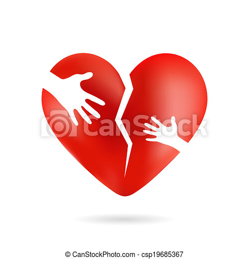Broken heart with hands, isolated from white background - csp19685367