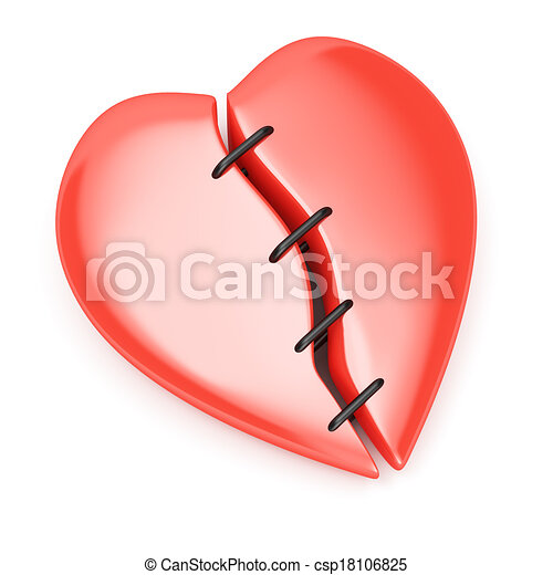 broken heart with stitches isolated on white background 3d clip rh canstockphoto com clipart broken heart clipart broken heart
