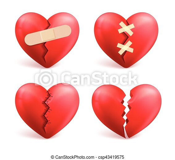 Broken Hearts Vector Set Of 3d Realistic Icons And Symbols In Red Color With Wound Patches Stitches Bandages Isolated White Background