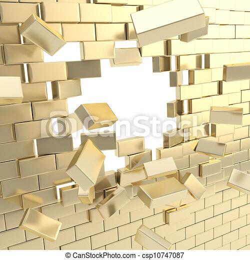 Broken into pieces brick wall with - csp10747087