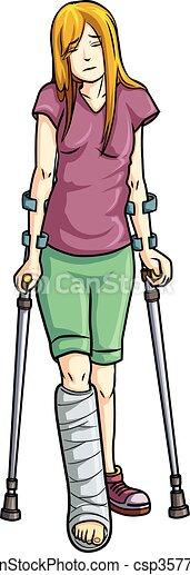 illustration of girl with a broken leg clip art vector search rh canstockphoto com broken leg clipart images broken leg cartoon clipart