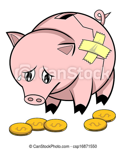 broken piggy bank rh canstockphoto com free piggy bank clipart black and white