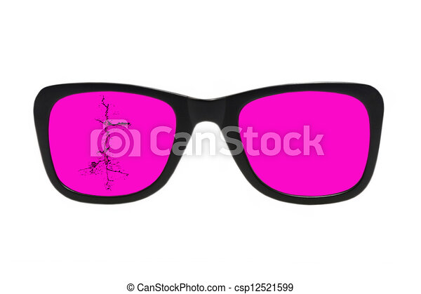 Broken pink glasses.Isolated. - csp12521599