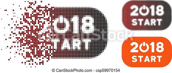 Broken Pixel Halftone 2018 Start Button Icon - csp59970154
