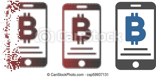 Broken Pixel Halftone Baht Mobile Payment Icon - csp59937131