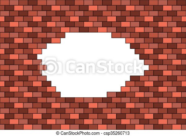 Broken Red Brick Wall With Big White Hole Inside Copyspace