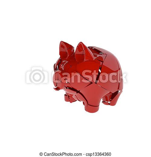broken red ceramic piggy bank, isolated on white - csp13364360