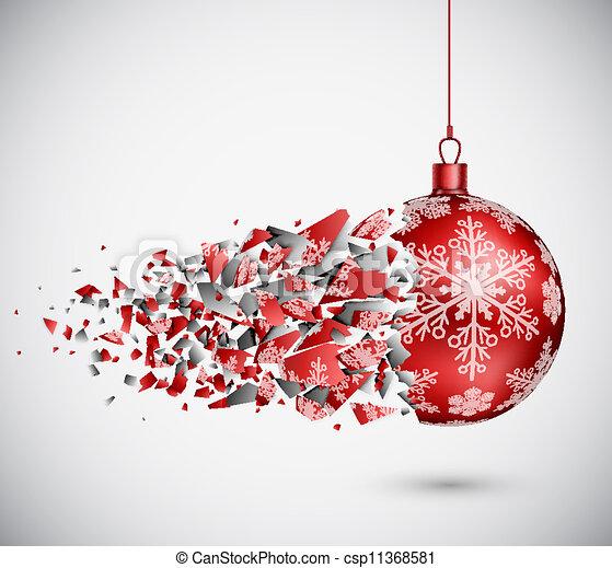 Broken red Christmas ball - csp11368581