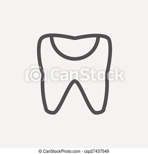Broken tooth thin line icon - csp27437549