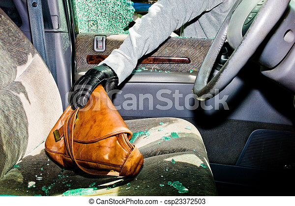 broken-up car, theft - csp23372503