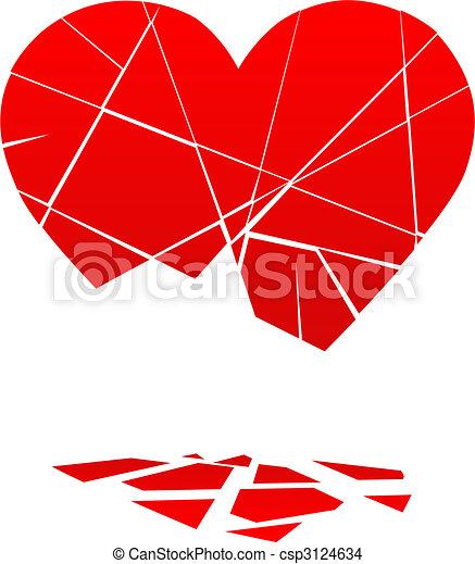 Broken Valentine Heart Falls to Pieces - csp3124634
