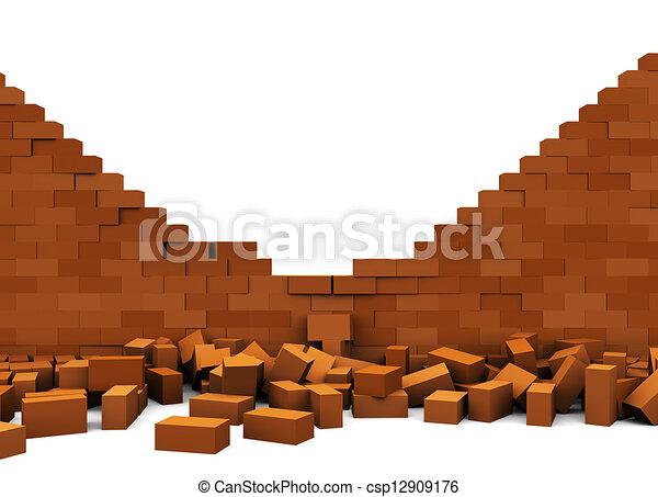 Broken Wall 3d Illustration Of Brick Over White
