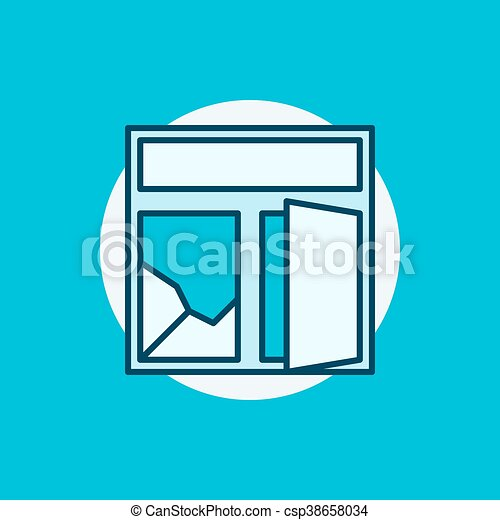 broken window colorful icon flat creative cracked window vectors rh canstockphoto com  broken window clipart free