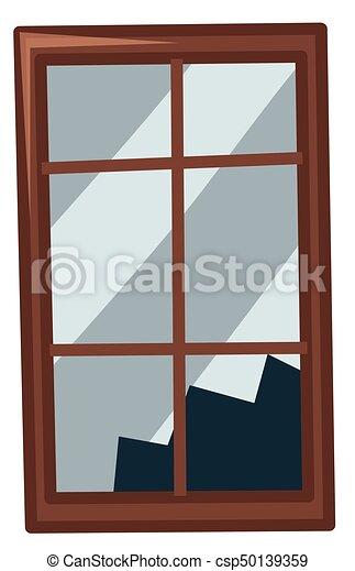 broken window on white background illustration rh canstockphoto com broken glass window clipart Cartoon Broken Window