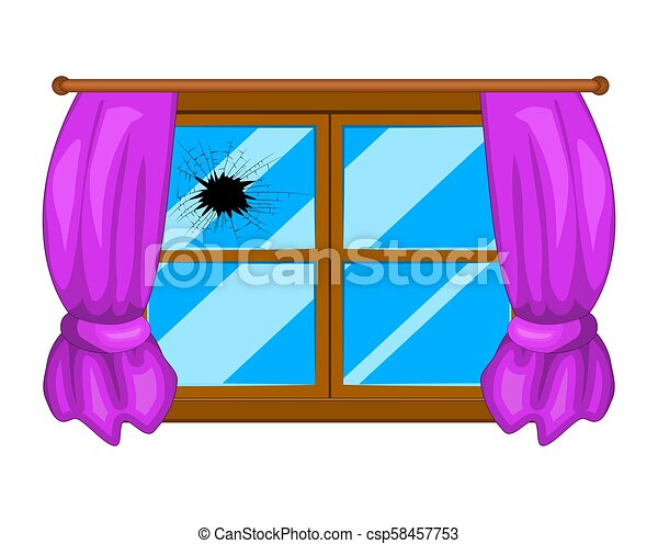 broken window simple vector design isolated on white rh canstockphoto com broken car window clipart broken glass window clipart