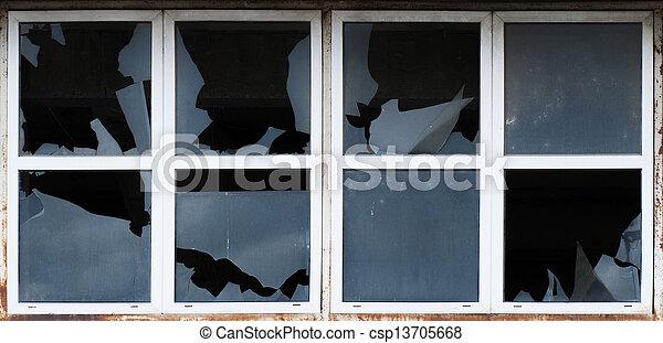 Broken windows of old building - csp13705668