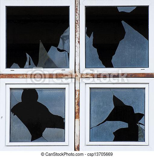 Broken windows of old building - csp13705669