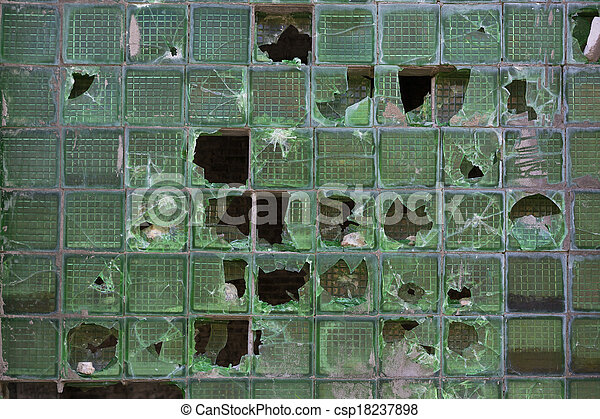 Broken windows of old industrial building - csp18237898