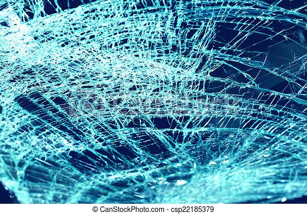 broken windshield in car accident  - csp22185379