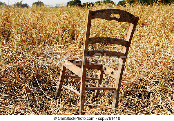Pictures Of Broken Wood Chair In The Grass Field Csp