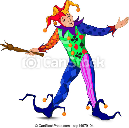 Jolly Joker con un vestido brillante - csp14679104