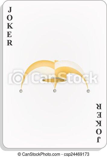 Jugando a las cartas con sombrero de payaso - csp24469173