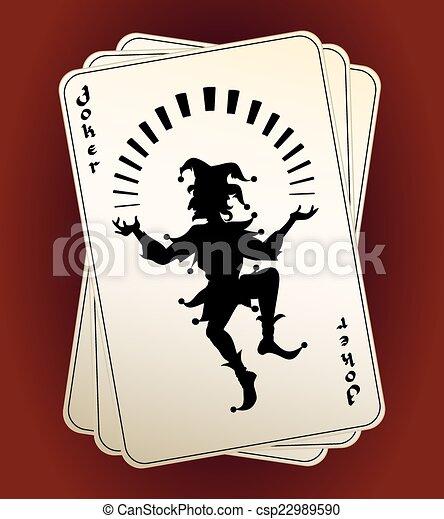 Silueta de Joker jugando a las cartas - csp22989590
