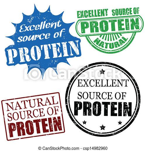 bron, proteïne, postzegels, uitstekend - csp14982960