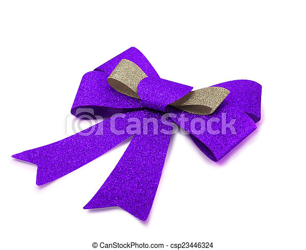 Bronze and purple ribbon isolated on white, clipping path. - csp23446324