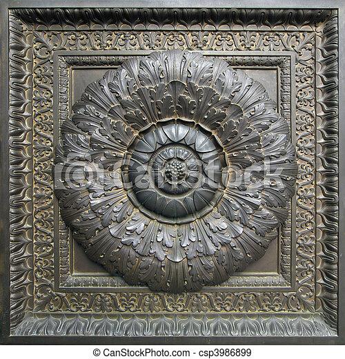 Bronze Door Floral Architectural Detail - csp3986899