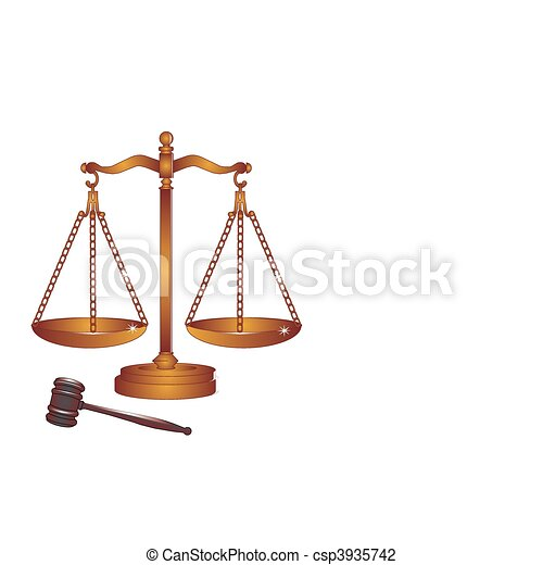 Bronze or copper gavel and scales. - csp3935742