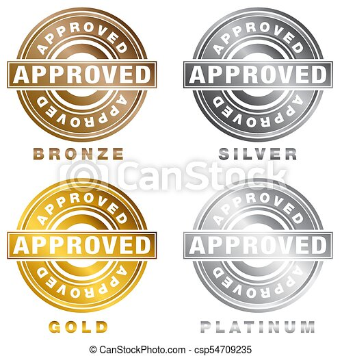 An Image Of A Bronze Silver Gold Platinum Approved Stamp Set Isolated On White