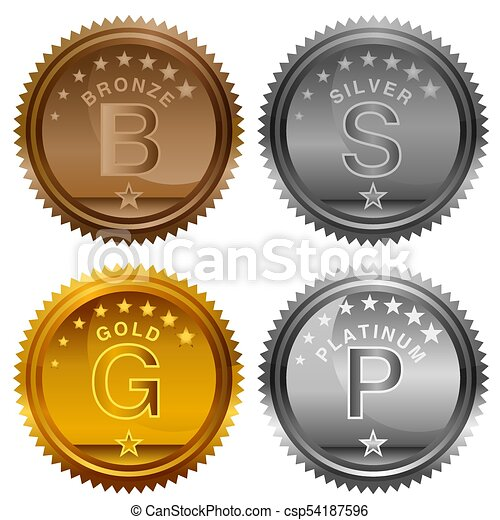 an image of a bronze silver gold platinum award coins icon