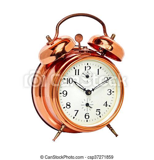 Bronze vintage alarm clock isolated on white. - csp37271859