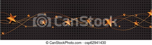 Bronze wavy lines and stars on black background - csp62941430