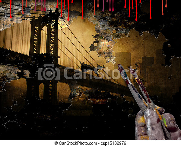 Line Drawing Nyc : Brooklyn bridge nyc painting with artist hand and brushes stock
