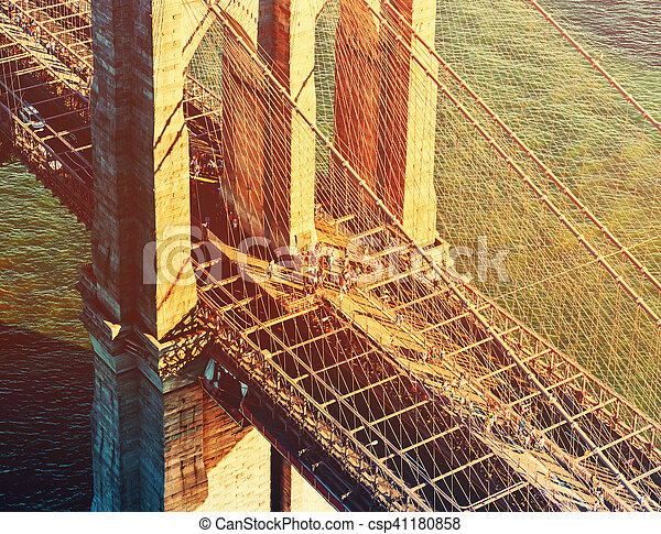 Brooklyn Bridge over the East River in New York - csp41180858
