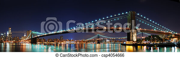 Brooklyn Bridge panorama in New Yor - csp4054666