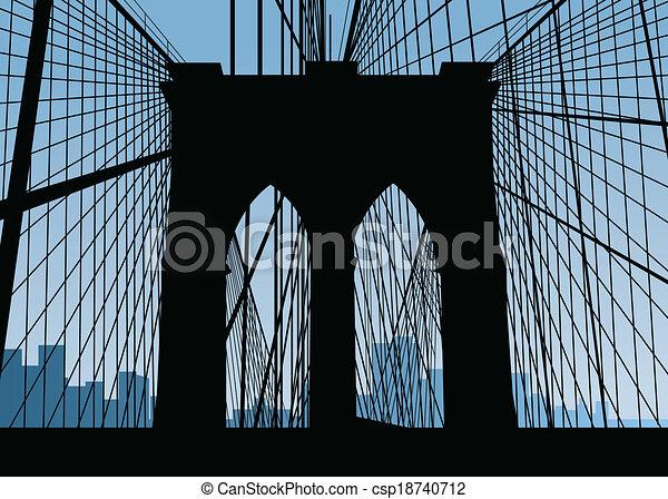 brooklyn bridge silhouette silhouette of the brooklyn vector rh canstockphoto com brooklyn bridge vector art brooklyn bridge silhouette vector free