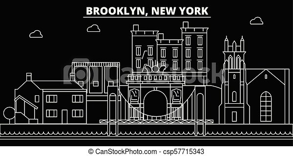 Brooklyn silhouette skyline. USA - Brooklyn vector city, american linear architecture, buildings. Brooklyn travel illustration, outline landmarks. USA flat icon, american line banner - csp57715343