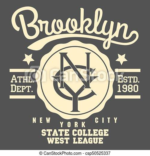 Brooklyn t-shirt graphics. New york brooklyn sport wear typography ... 26615eb63