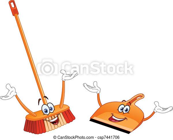 Broom and dustpan cartoon - csp7441706