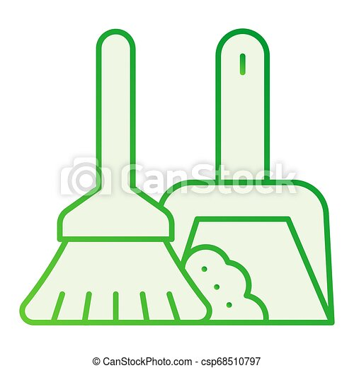 Broom and dustpan flat icon. Cleaning tools gray icons in trendy flat style. Household gradient style design, designed for web and app. Eps 10. - csp68510797