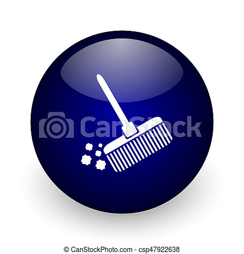 Broom blue glossy ball web icon on white background. Round 3d render button. - csp47922638