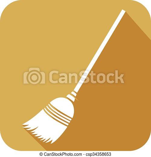 broom flat icon - csp34358653