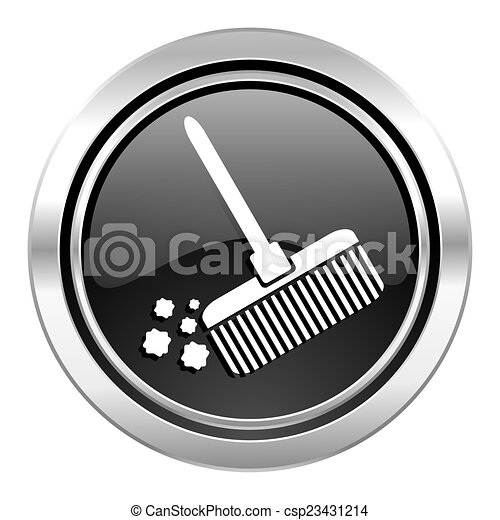 broom icon, black chrome button, clean sign - csp23431214